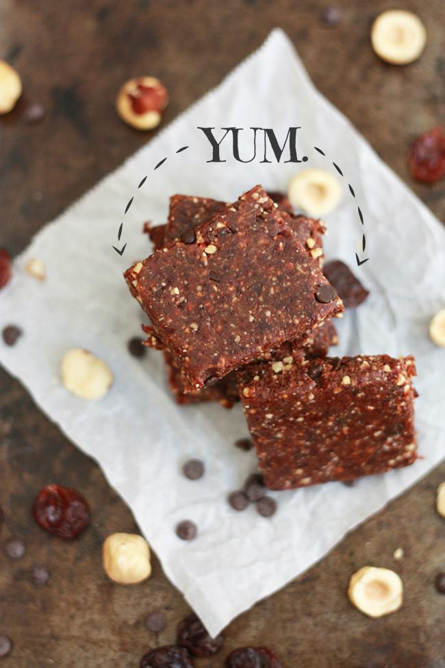 Chocolate Cherry Hazelnut Bars (GF, Vegan, Paleo) // One Lovely Life