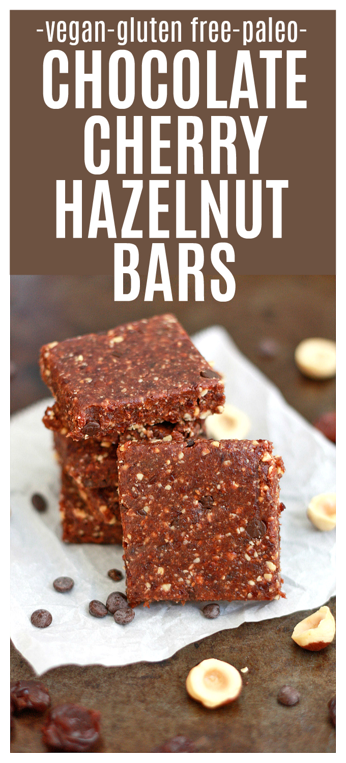 Chocolate Cherry Hazelnut Bars - These yummy snack bars always hit the spot! Gluten and dairy free + paleo friendly!