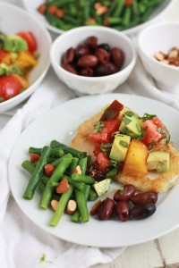 Crispy Alaskan Halibut with Avocado Tomato Salad // One Lovely Life