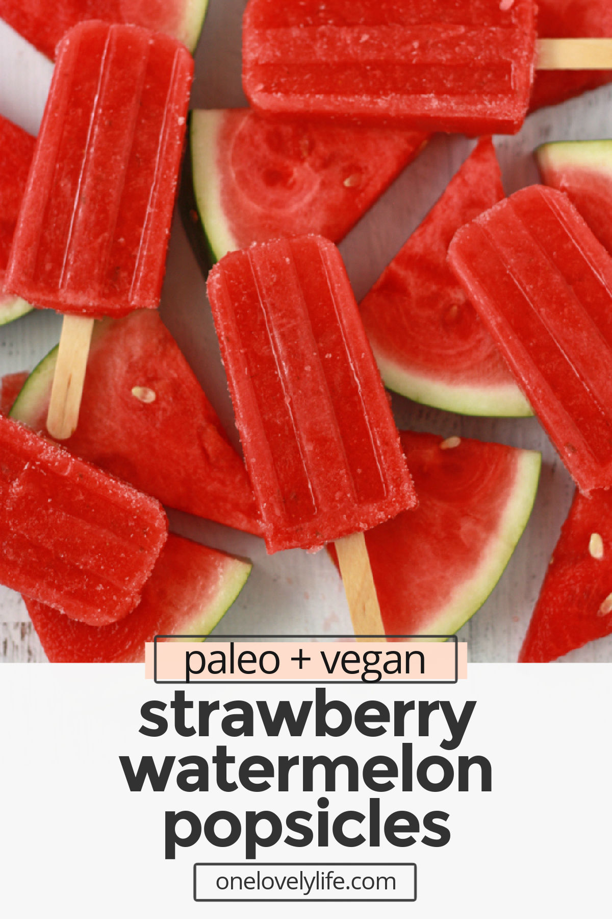 Strawberry Watermelon Popsicles are a fresh, bright, healthy warm weather treat! They're 100% fruit and naturally help balance your electrolytes. (Vegan & paleo) // healthy popsicles // strawberry popsicles // watermelon popsicles // paleo popsicles // vegan popsicles // naturally sweetened // healthy snack // #healthy #popsicles #icepops #paleo #vegan #dessert