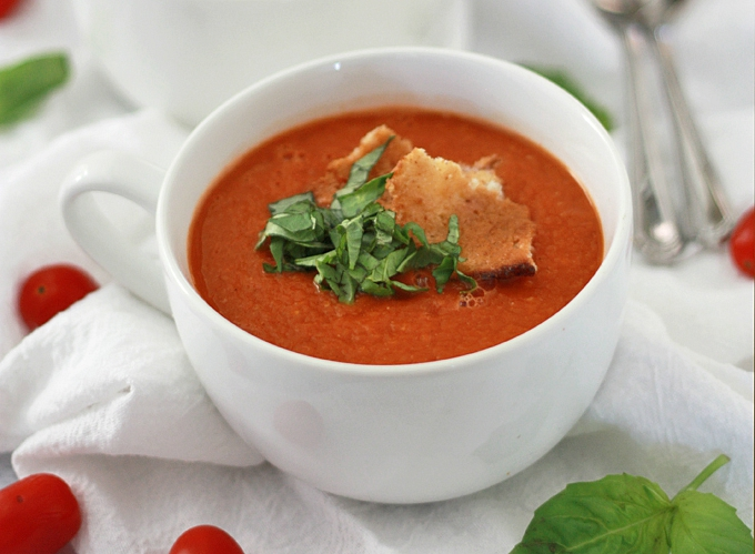 Creamy Vegan Tomato Basil Soup // One Lovely Life..