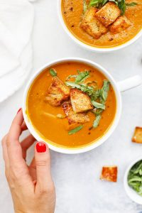 Paleo and Vegan Tomato Basil Soup from One Lovely Life