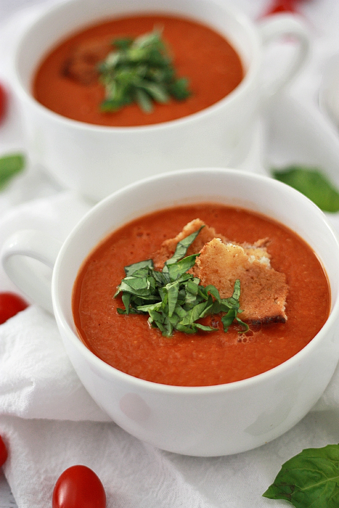Creamy Tomato Basil Soup - One Lovely Life Cream Of Tomato Soup With Garnish