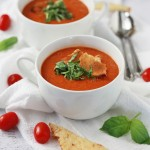 This vegan tomato basil soup is amazing! >> One Lovely Life
