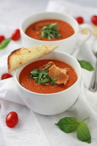 (Cream-less) Creamy Tomato Basil Soup from www.onelovelylife.com