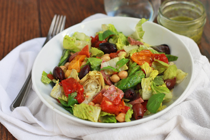 Italia Salad with Lemon Basil Dressing - Makes an awesome lunch or dinner!