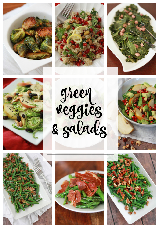 Green Vegetables & Salads for Thanksgiving. Gluten free, paleo & vegan options!