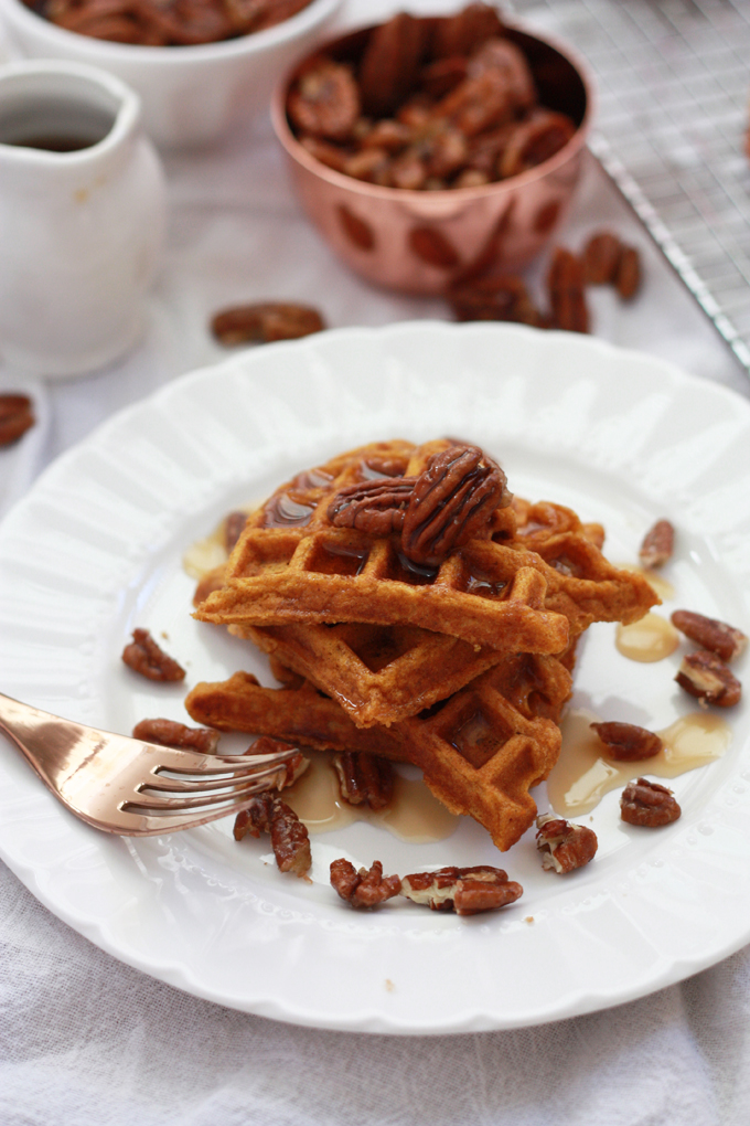 Add a little holiday cheer to the table with these Gluten Free Sweet Potato Waffles from www.onelovelylife.com