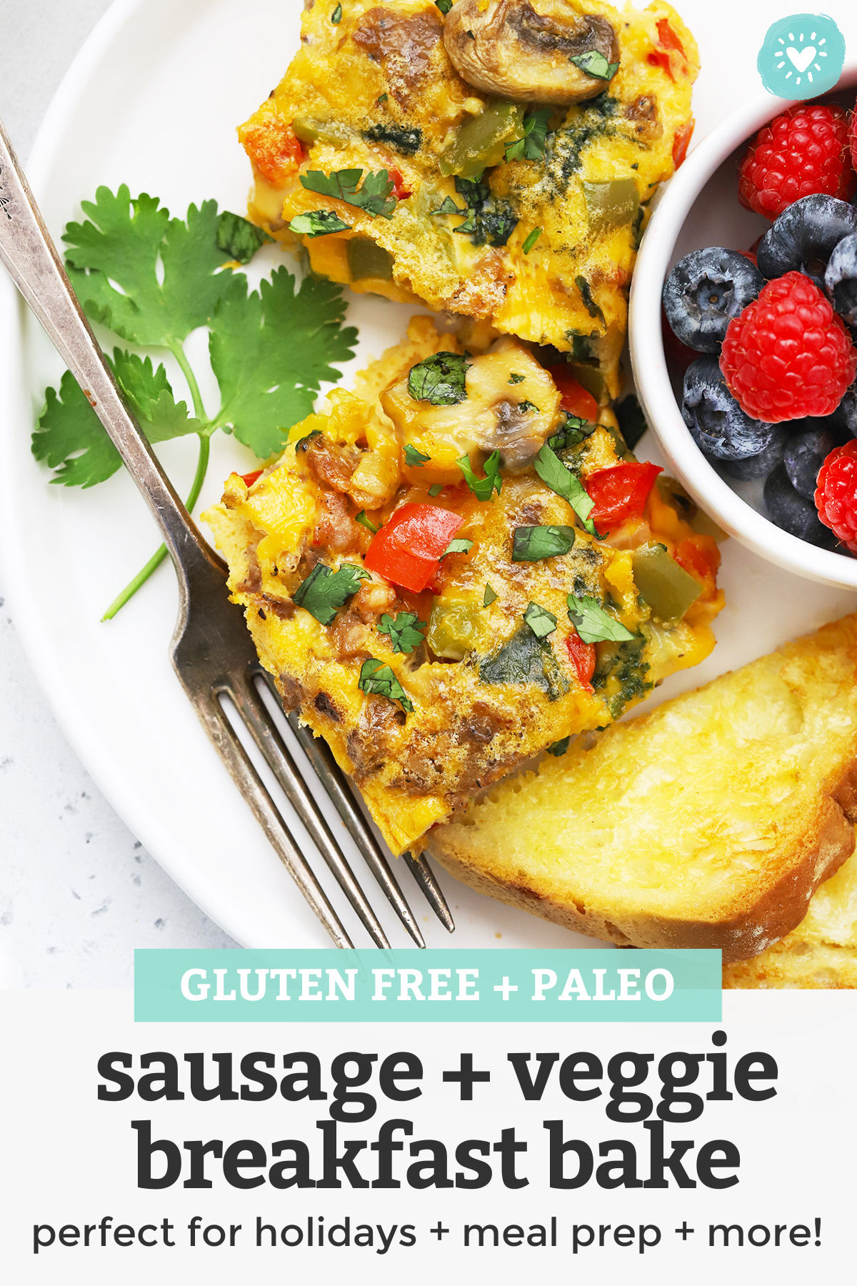 Sausage and Veggie Breakfast Bake - This cozy sausage veggie breakfast casserole is perfect for holidays, get-togethers, or meal prep. It reheats like a dream and tastes fantastic! // Meal prep breakfast // Paleo egg casserole // whole30 breakfast casserole #breakfast #eggcasserole #eggbake #paleo #whole30 #breakfastbake