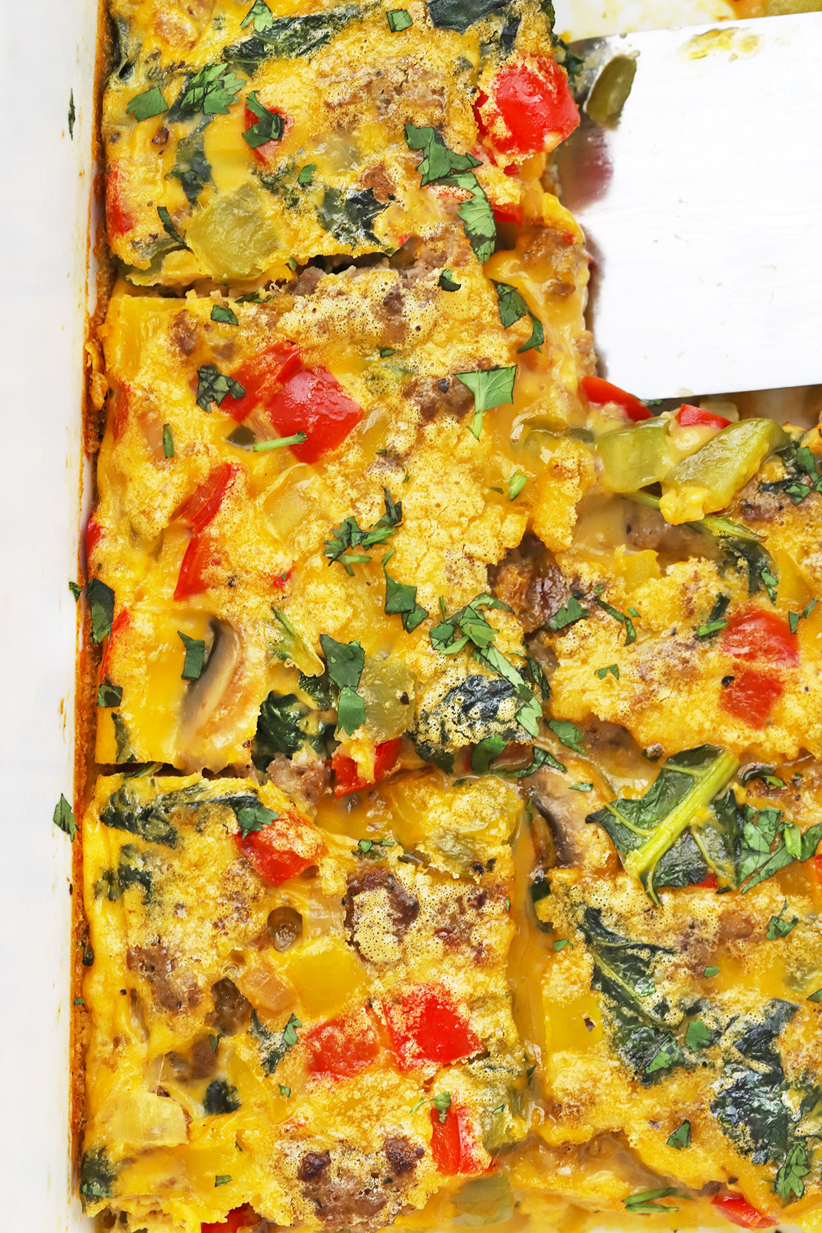 Overhead view of Sausage and Veggie Breakfast Bake