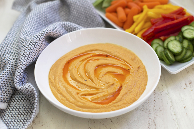 We love this Roasted Red Pepper Hummus for parties, snacks, and lunches.