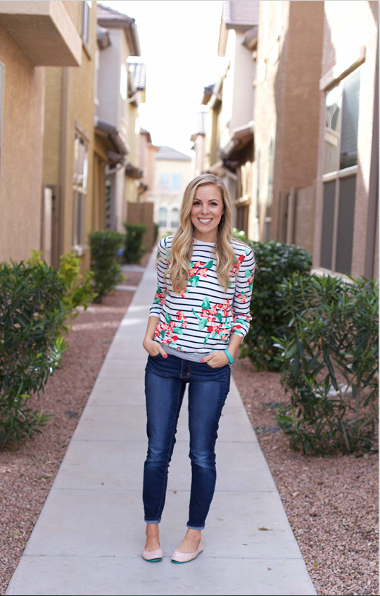 Love this classic sweater with a bright twist from thredUP!