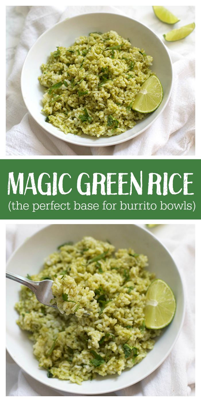 This Magic Green Rice is absolutely my favorite base for burrito bowls. It's easy, delicious, and there's even a video!