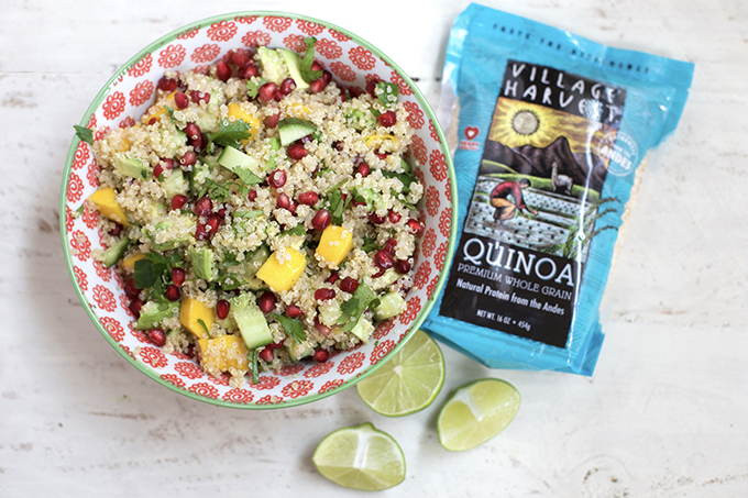 Mango Avocado Quinoa Salad. A fresh, healthy salad with a great blend of plant-powered protein, carbs, and healthy fats.