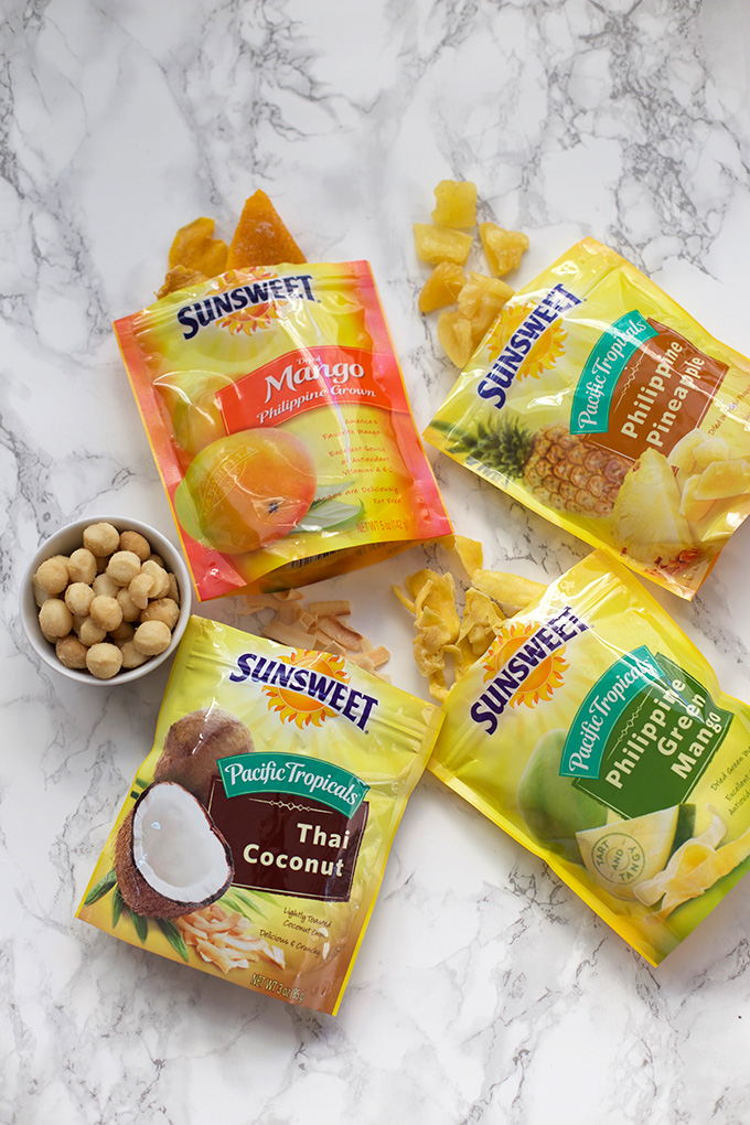 Sunsweet Philippine Tropcials dried fruit - The Thai Coconut Chip and Philippine Green Mango are my favorites. Win a Tropical Getaway with Sunsweet!