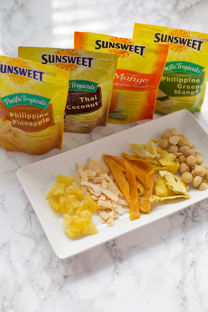 Tropical Crunch Mix made with Sunsweet Philippine Tropicals. (The Philippine Green Mango is amazing!)