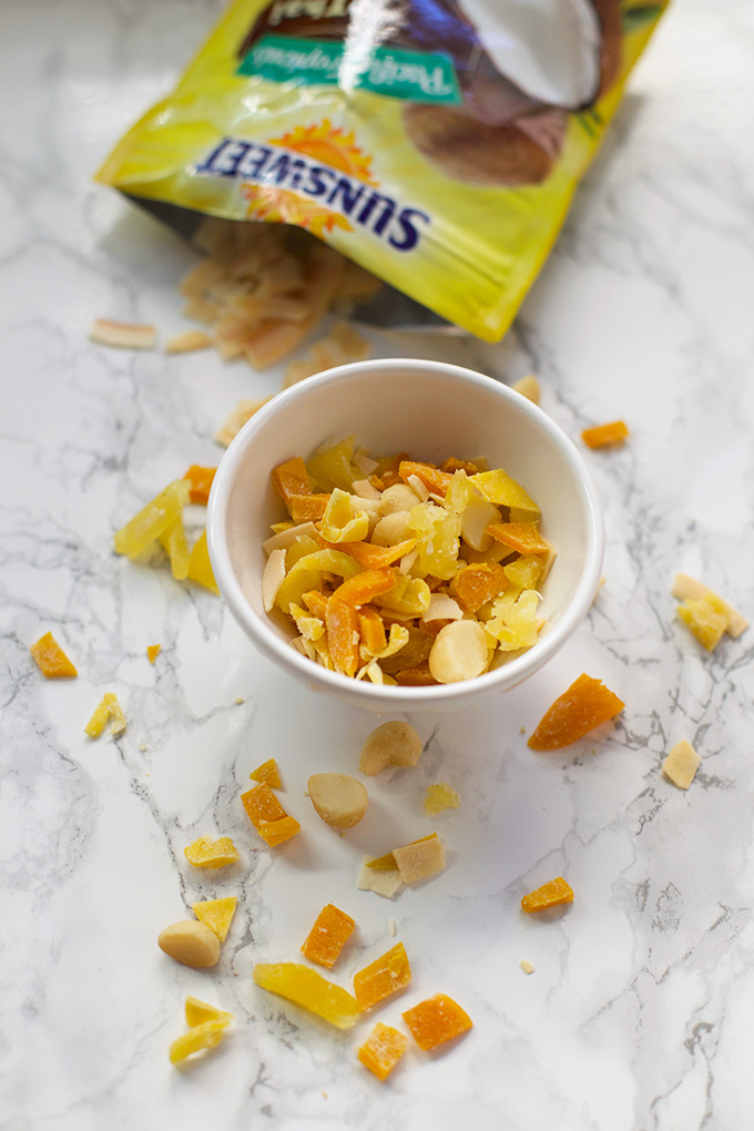 I can't get enough of this Tropical Crunch Mix. Made with Sunsweet Philippine Tropicals line of dried fruit -- try the Green Mango and Thai Coconut Chip!