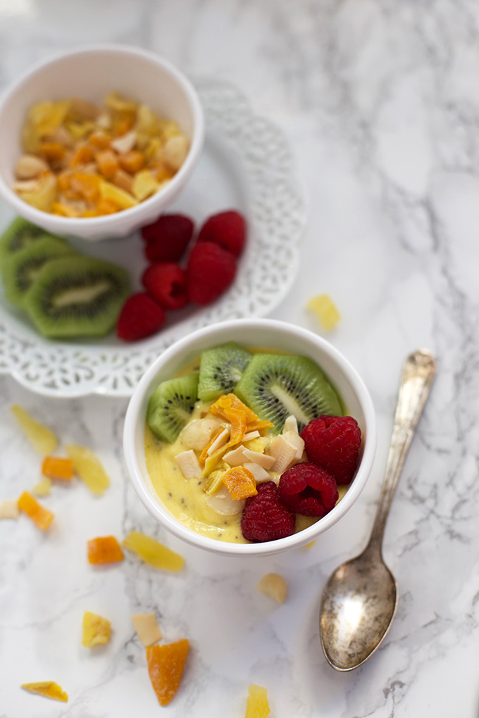 Creamy Mango Chia Bowls with Tropical Crunch Mix - A fresh, bright breakfast or snack.