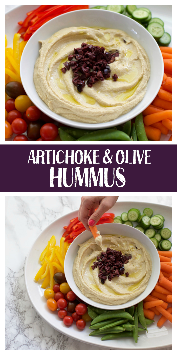 Artichoke and Olive Hummus is a salty, savory appetizer or dip. Vegan, gluten free, and SO easy!