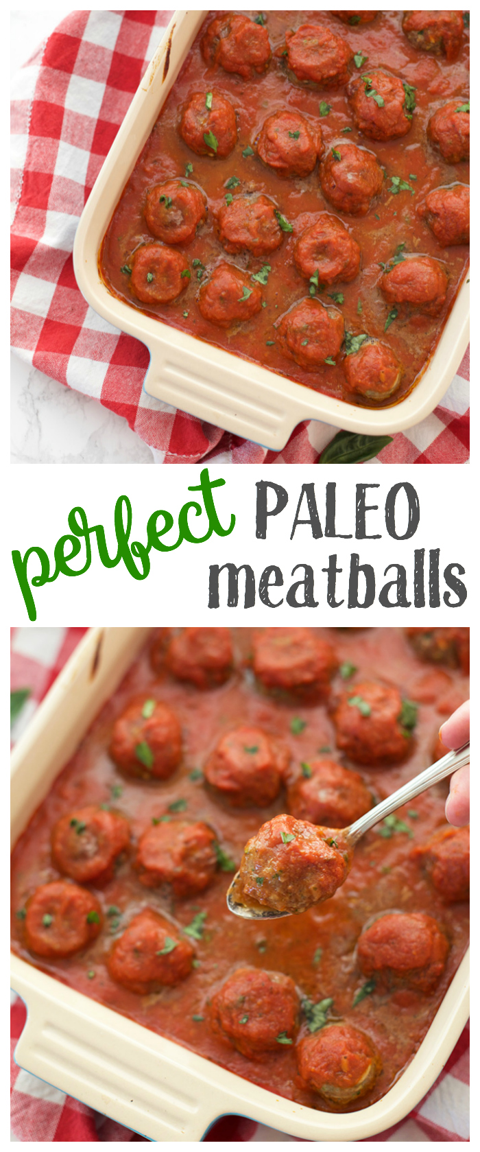 The PERFECT paleo meatball. Tender, light, and full of flavor without any fillers or additives. You'll love these!