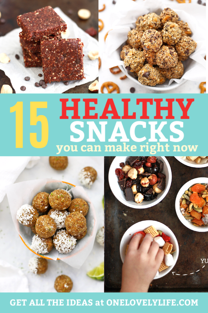 15 Healthy Snacks to Make Right Now - Kid approved energy bites, energy bars, trail mix and more! #glutenfree #paleo #vegan options!