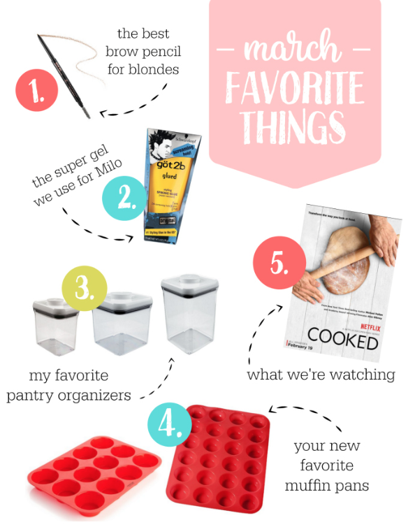 March faves! This time: the best brow pencil for blondes, pantry organizers, and more!
