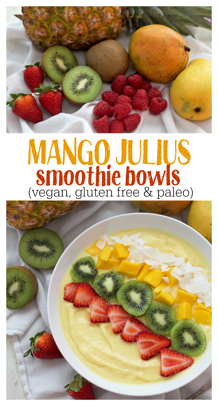 These Mango Julius Smoothie Bowls are fresh, creamy, and delicious. The perfect healthy breakfast or snack!