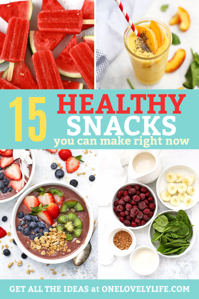 15 Healthy Snack Ideas - Smoothies, popsicles, and bowls to make snack time amazing! #vegan #paleo #glutenfree #dairyfree options!