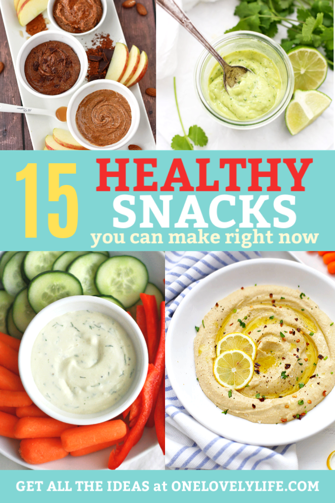 15 Healthy Snacks to Make Right Now - Delicious dips and dressings to make snack time better! #glutenfree #vegan #paleo options