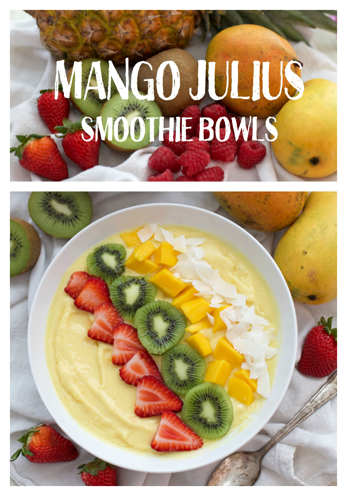 Mango Julius Smoothie Bowls! Top these with your favorite fresh fruit, granola, or nuts for a delicious healthy breakfast.