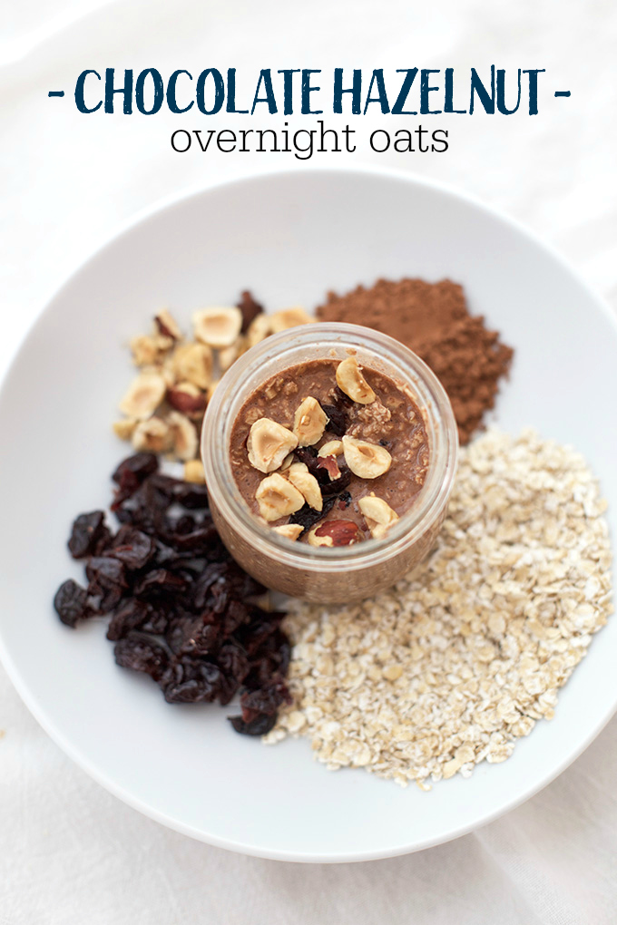 These Chocolate Hazelnut Overnight Oats are a healthy breakfast that tastes like a dessert!