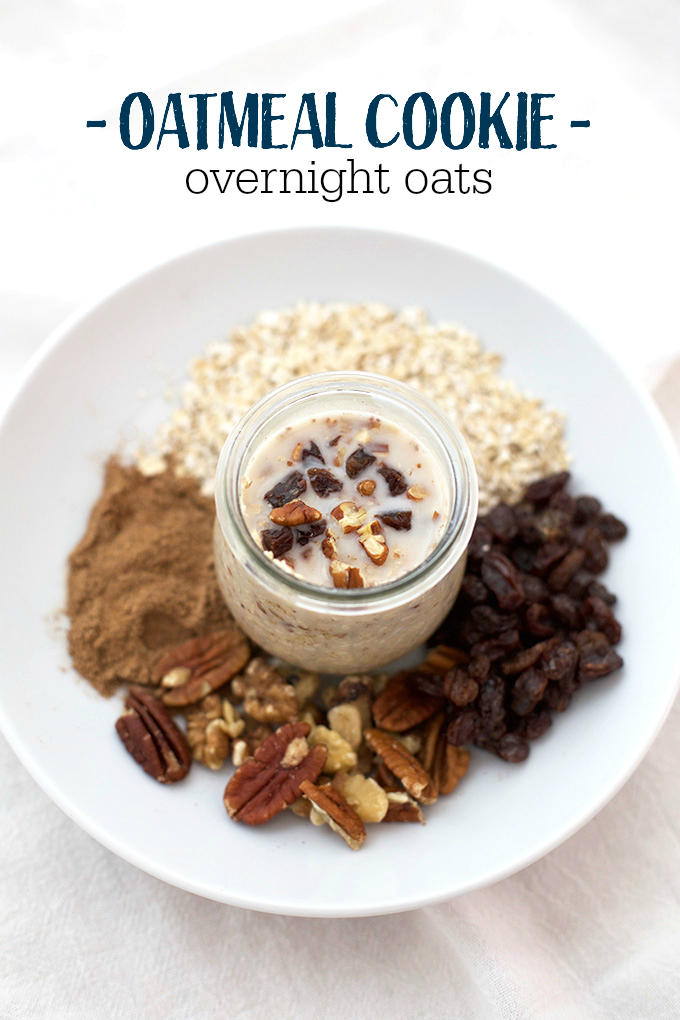 Oatmeal Cookie Overnight Oats. A delicious, healthy breakfast that tastes like dessert. PLUS, this post has 6 other ways to eat overnight oats. One for every day of the week!