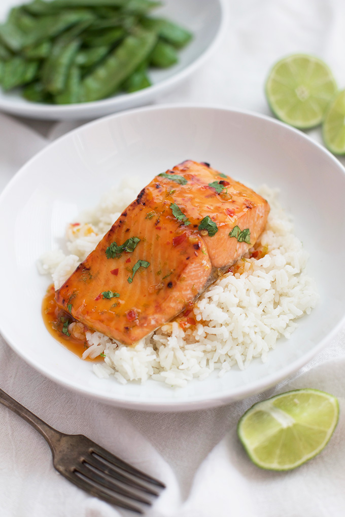 Easy glazed salmon is on the table in minutes. Only 3 ingredients!