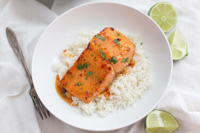 Sweet and a little bit spicy, we love this Thai Sweet Chili and Lime Salmon. Such a fast, yummy dinner! (gluten free & paleo friendly)