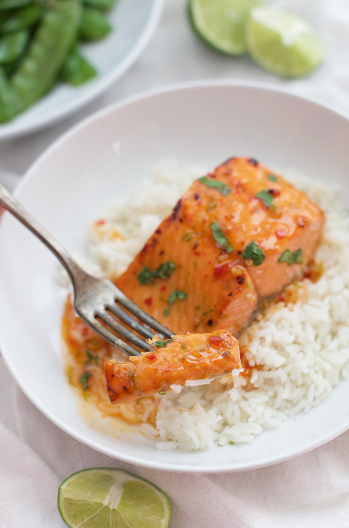 3 Ingredient Salmon is SO good. Serve it with coconut rice and green veggies for an easy dinner.