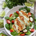 Perfectly seasoned chicken topped with creamy tomatillo ranch dressing. Such a fresh and delicious dinner!