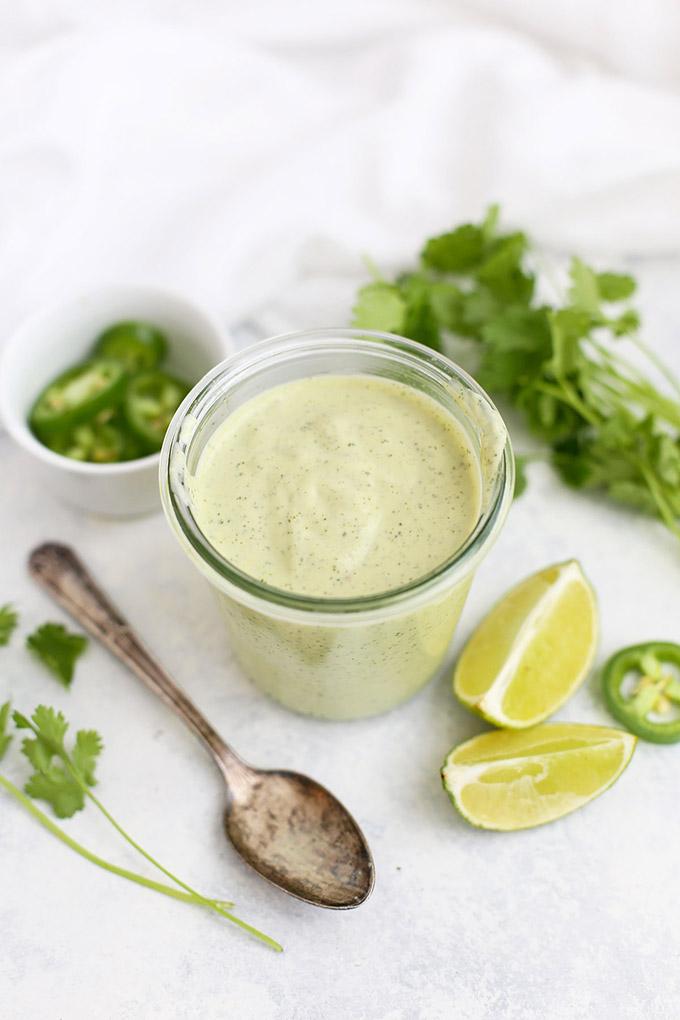 Jar of Paleo or Vegan Tomatillo Ranch Dressing.