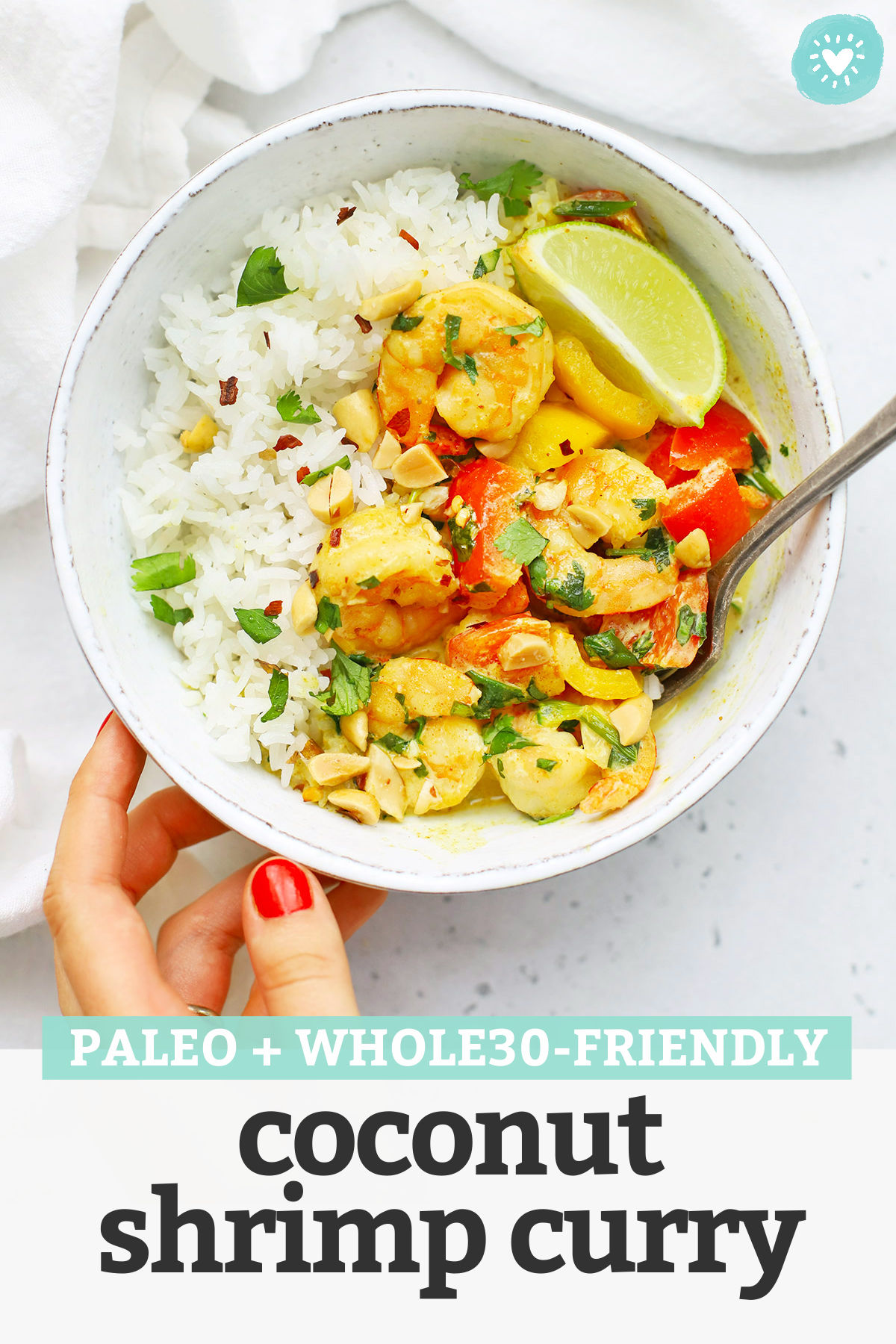 Creamy Coconut Shrimp Curry. This paleo shrimp curry recipe has a gorgeous coconut curry sauce and colorful veggies that make it extra special. // Shrimp curry recipe // healthy shrimp curry // easy shrimp curry #curry #shrimp #dinner #healthydinner #shrimpcurry #paleo #whole30
