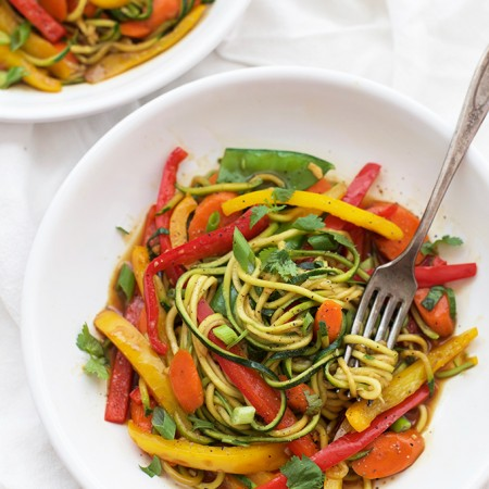 Zucchini Noodle Stir Fry with Spicy Black Pepper Sauce -- the most delicious way to clean out the fridge.