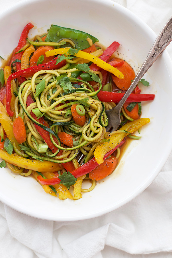Love this easy stir fry with spiralized zucchini and spicy black pepper sauce.