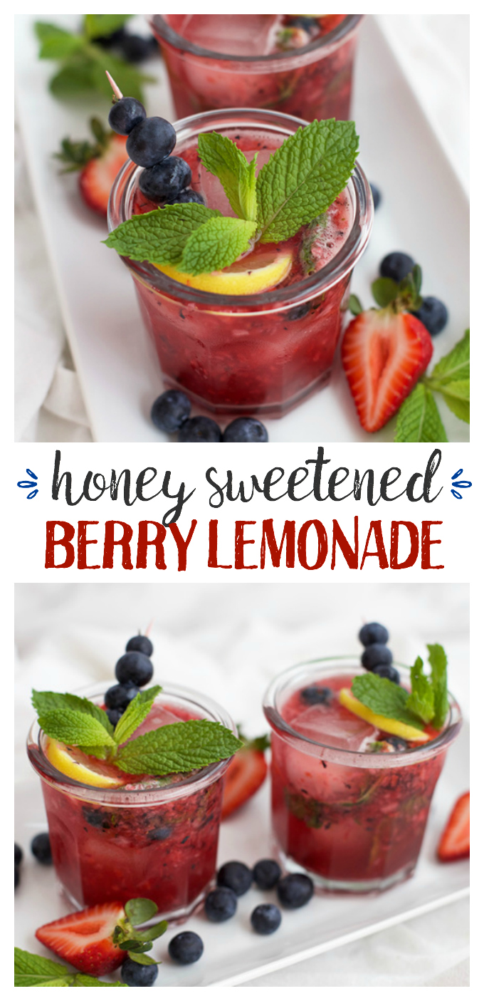 This Honey Sweetened Berry Lemonade is perfection. Sweet, fresh, flavorful. The perfect summer drink!