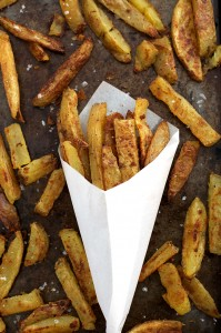 These Crispy Baked Oven fries are everything an oven fry should be. Crispy on the outside and fluffy on the inside. (The spice mixture is amazing!)