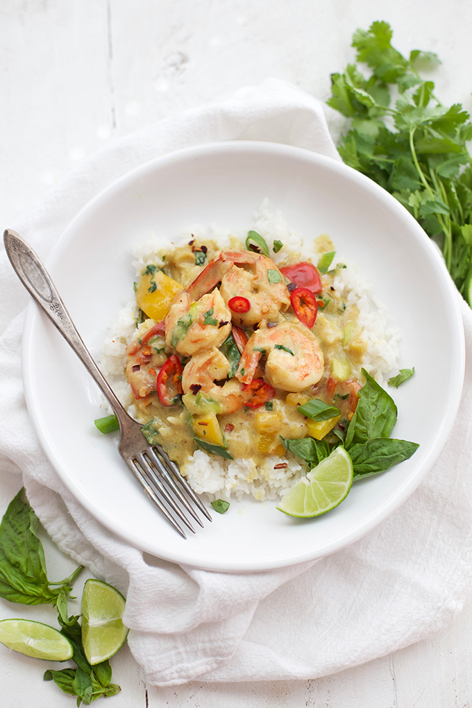 This Shrimp Curry is so creamy and delicious! The shrimp and sauce are Whole30/Paleo!