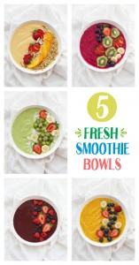 5 Fresh Smoothie Bowl Ideas. Colorful, bright, and loaded with goodness, these are such a perfect breakfast or snack. You'll want to make them all!