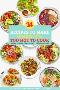 "Collage of low-cook and no-cook dinners with text overlay that reads ""14 Recipes to Make When It's Too Hot to Cook. Gluten Free + Dairy Free + Vegan + Paleo Options"""