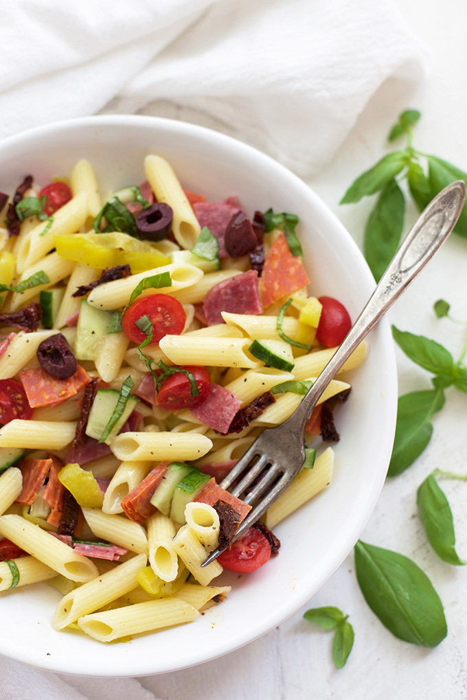 Pasta Salad is a summer classic. This is our glam twist. SO GOOD!