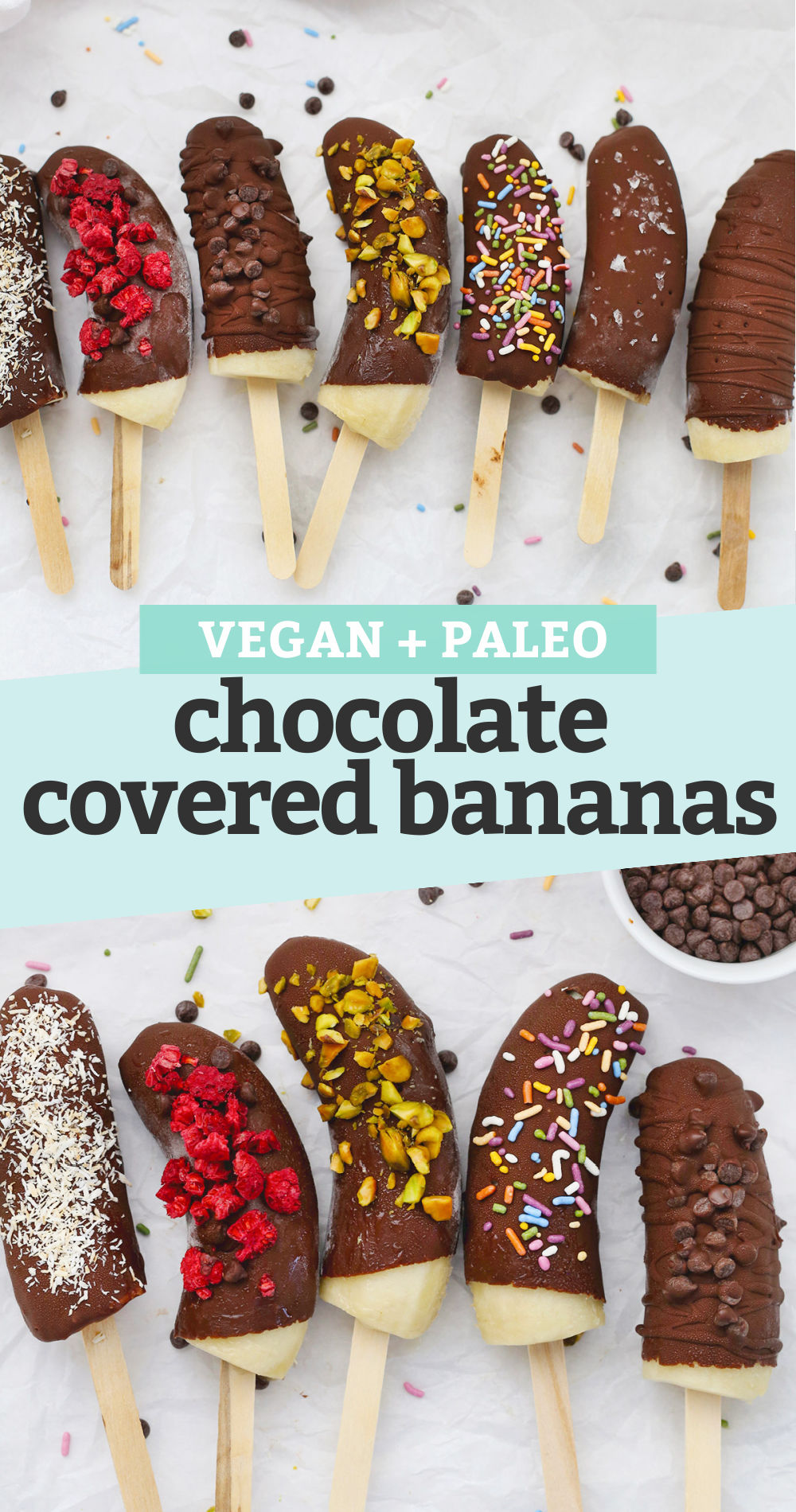 "Collage of Frozen Chocolate Covered Bananas with different toppings with a text overlay that reads ""Vegan + Paleo Chocolate Covered Bananas"""