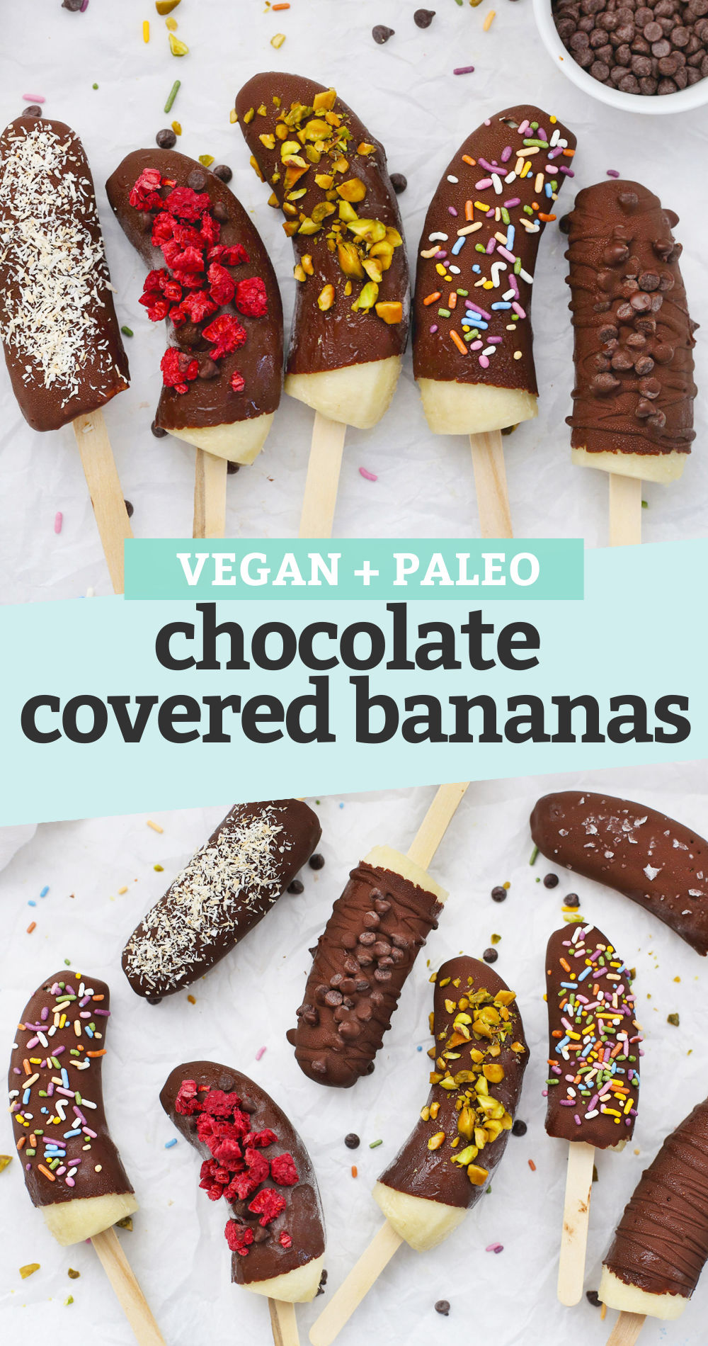 """Collage of Frozen Chocolate Covered Bananas with different toppings with a text overlay that reads """"Vegan + Paleo Chocolate Covered Bananas"""""""