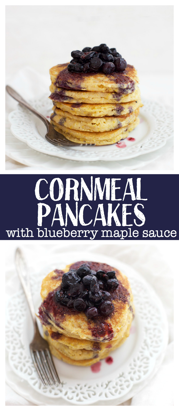 Add a stack of these Cornmeal Pancakes with Blueberry Maple Syrup to your weekend. Cozy comfort at its finest!
