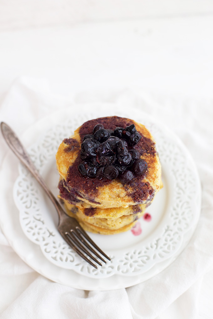 Cornmeal Pancakes with Blueberry Maple Syrup - There's nothing cozier than pancakes!